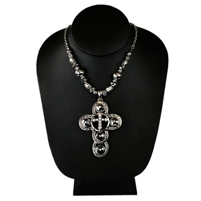 Silver Beaded Cross Necklace  -