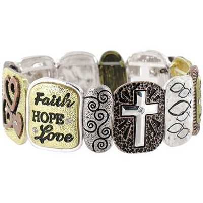 Faith Hope Love Stretch Bracelet  -