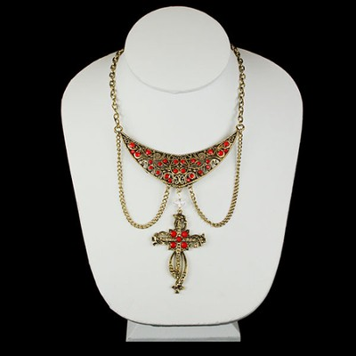 Antique Gold Bib Hanging Red Cross Necklace  -