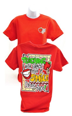 Girly Grace Teaching Shirt, Red,  Small  -