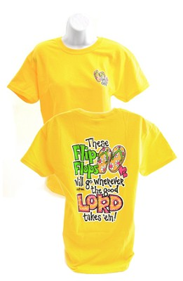Girly Grace Flip Flop Shirt, Yellow,  Medium  -