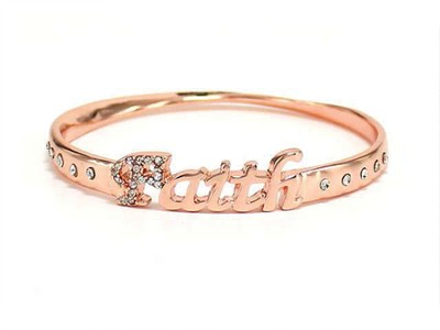 Faith Bangle Bracelet, Rose Gold  -