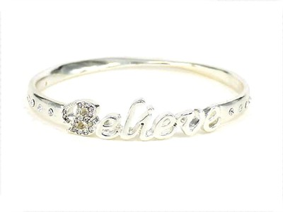 Believe Bangle Bracelet, Silver  -