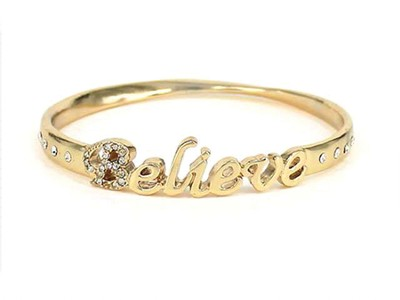Believe Bangle Bracelet, Gold  -
