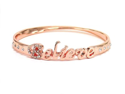 Believe Bangle Bracelet, Rose Gold  -
