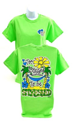 Girly Grace Blessed Shirt, Lime,  Large  -