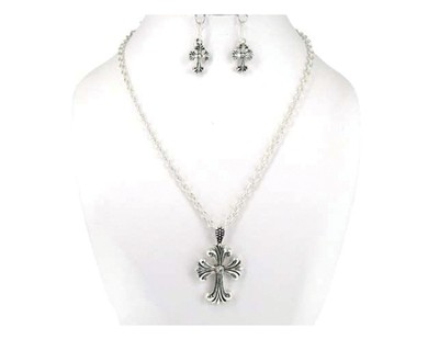 Cross Necklace and Earrings, Silver  -