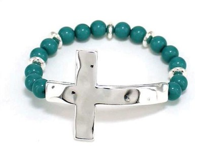Sideway Hammered Cross, Beaded Bracelet, Silver and Turquoise  -
