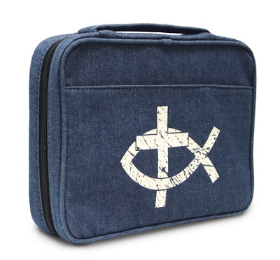 Ichthus and Cross Denim Bible Cover, X-Large  -