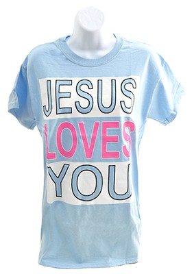 Jesus Loves You Shirt, Blue, X-Large  -