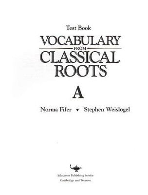 Vocabulary from Classical Roots Blackline Master Test: Book A  -