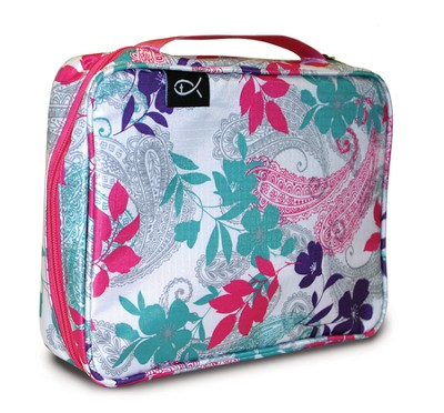 Paisley and Leaves Nylon Bible Cover, Pink and Teal, Medium  -