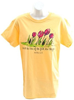 Consider the Lillies Of the Field Shirt, Yellow,  X-Large  -