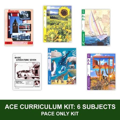 ACE Comprehensive Curriculum (6 Subjects), Single Student PACEs Only Kit, Grade 7, 3rd Edition (with 4th Edition Math & Social Studies)  -