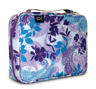 Paisley and Leaves Nylon Bible Cover, Purple and Blue, X-Large  -
