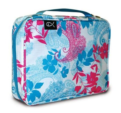 Paisley and Leaves Nylon Bible Cover, Pink and Blue, X-Large  -