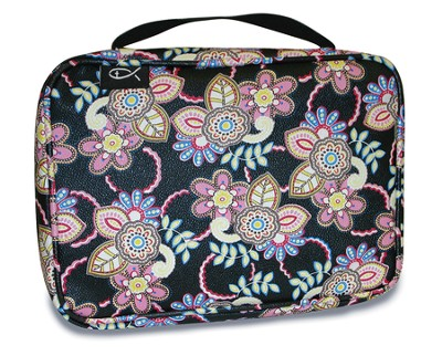 Floral Bible Cover, Black, Large  -