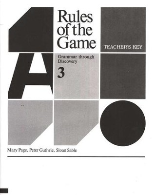 Rules of the Game, Teacher's Key, Book #3   -     By: Mary Page
