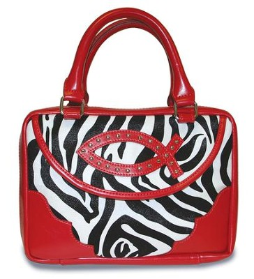 Ichthus Bible Cover, Zebra, Red, Large   -