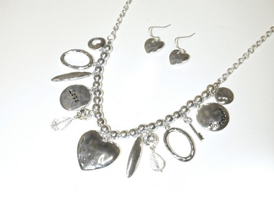 Love Charm Necklace and Earrings, Silver  -
