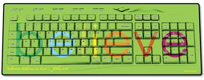 Believe USB Wireless Keyboard, Green  -