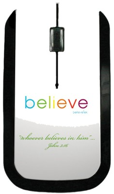 Believe USB Wireless Mouse, White  -