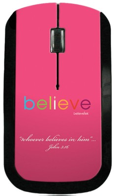 Believe USB Wireless Mouse, Pink  -