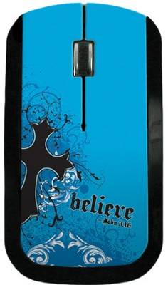 Believe with Cross USB Wireless Mouse, Blue  -
