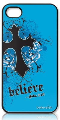 Believe with Cross iPhone 4 Case, Blue  -