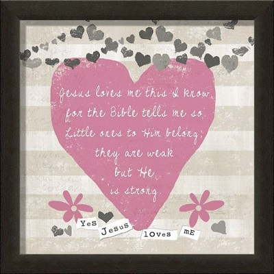 Jesus Love Me Framed Art, Pink  -