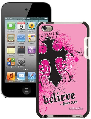 Believe with Cross iPod Touch 4G Case, Pink  -