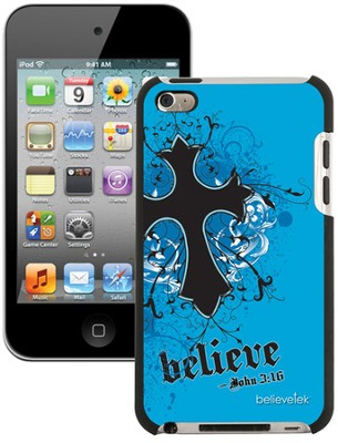 Believe with Cross iPod Touch 4G Case, Blue  -
