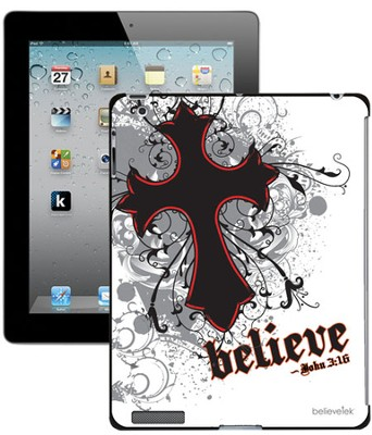 Believe with Cross iPad Case, White  -