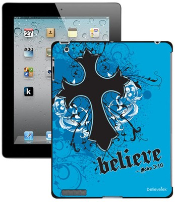 Believe with Cross iPad Case, Blue  -