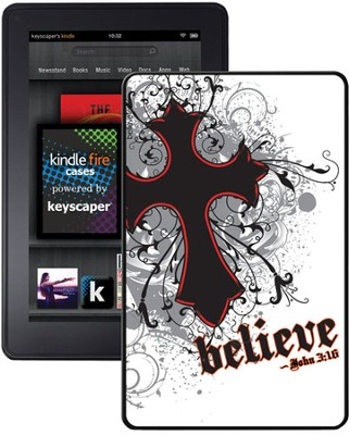 Believe with Cross Kindle Fire Case, White  -