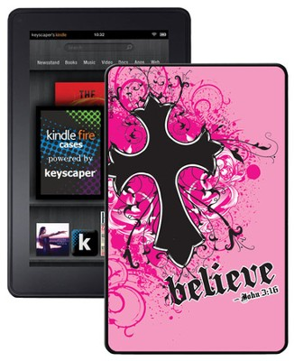 Believe with Cross Kindle Fire Case, Pink  -