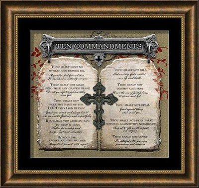 Ten Commandments with Cross Framed Art  -