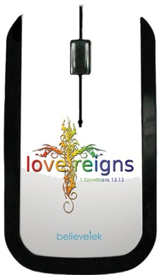 Love Reigns Cross USB Wireless Mouse, White  -
