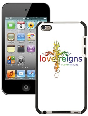 Love Reigns Cross, iPod 4G Case, White  -