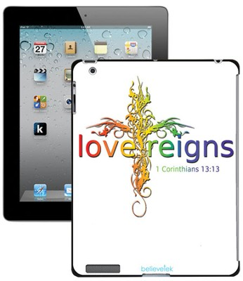 Love Reigns Cross iPad Case, White  -