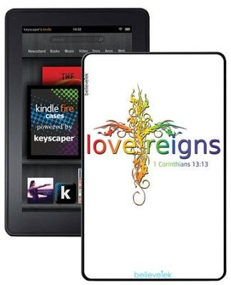 Love Reigns Cross, Kindle Fire Case, White  -