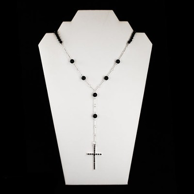 Black Bead Cross Necklace     -