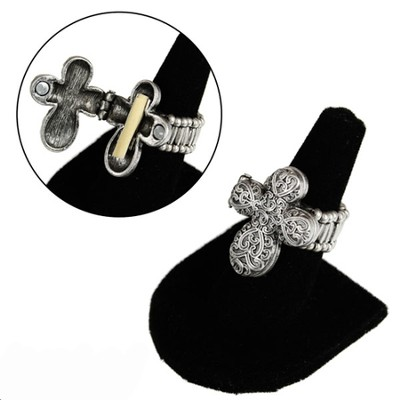 Filigree Prayer Box Cross Stretch Ring  -