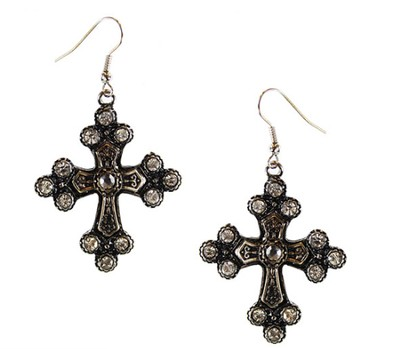 Burnished Silver Crystal Cross Earrings  -