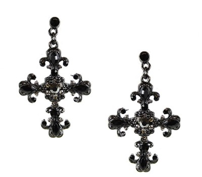 Crystal Cross Earrings, Black  -