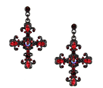 Crystal Cross Earrings, Red  -