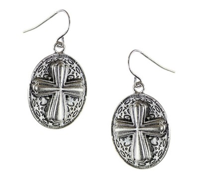 Oval Cross Earrings  -