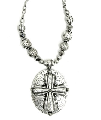 Beaded Oval Cross Necklace  -