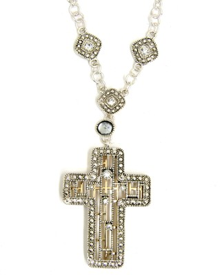 Crystal Cross Outline Necklace  -