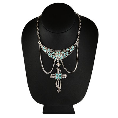 Silver Bib Hanging Turquoise Cross Necklace  -